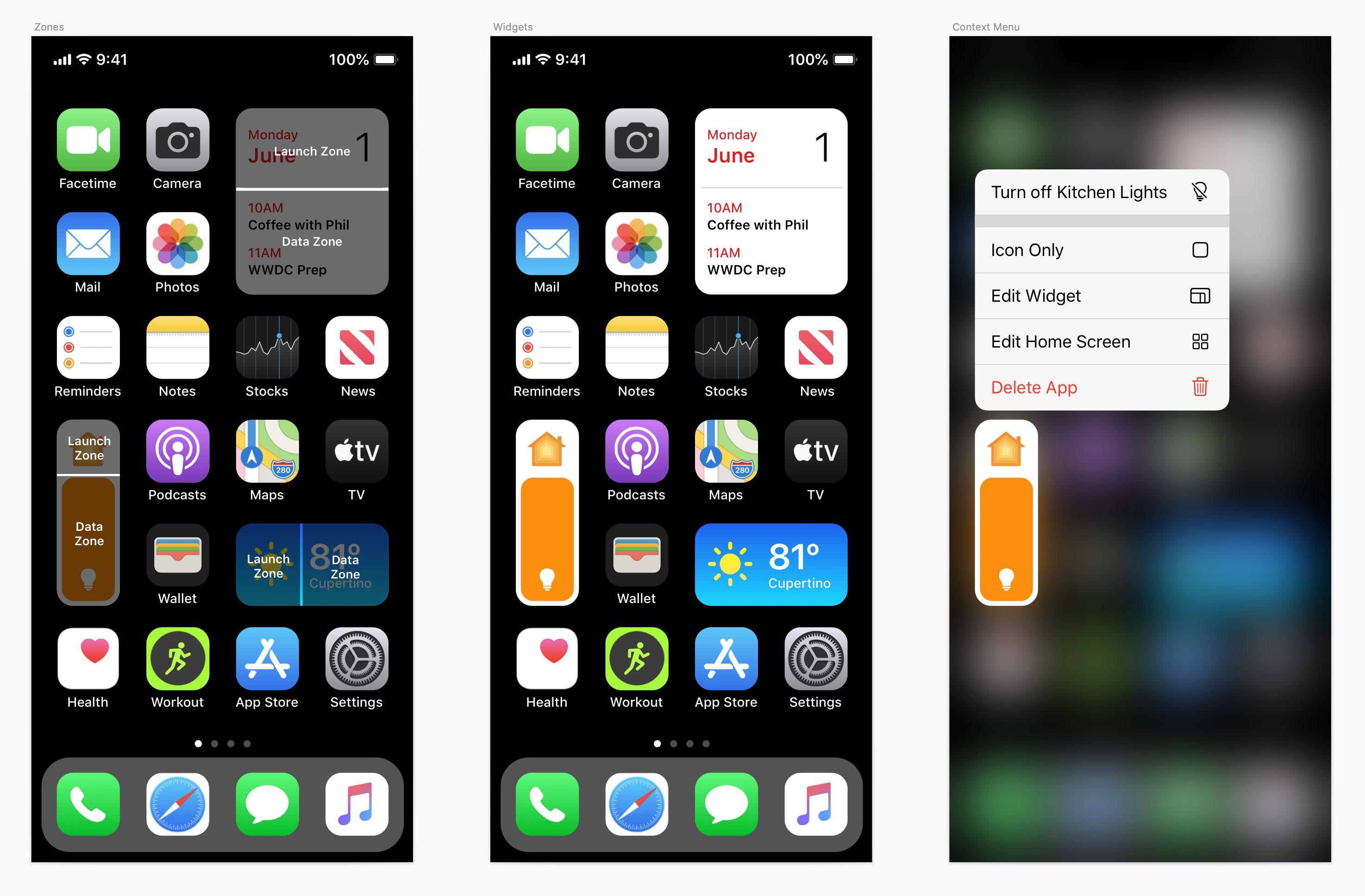 Lansering av widgets iOS 14-konsept