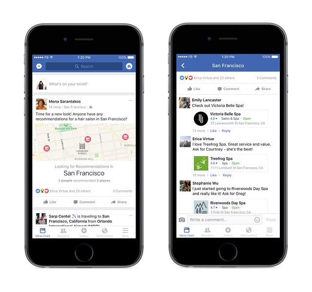 Nytt grensesnitt for steder på Facebook