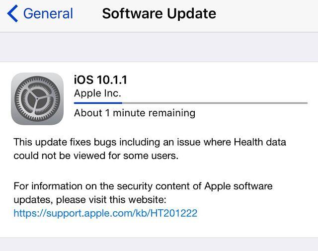IOS 10.1.1-oppdatering