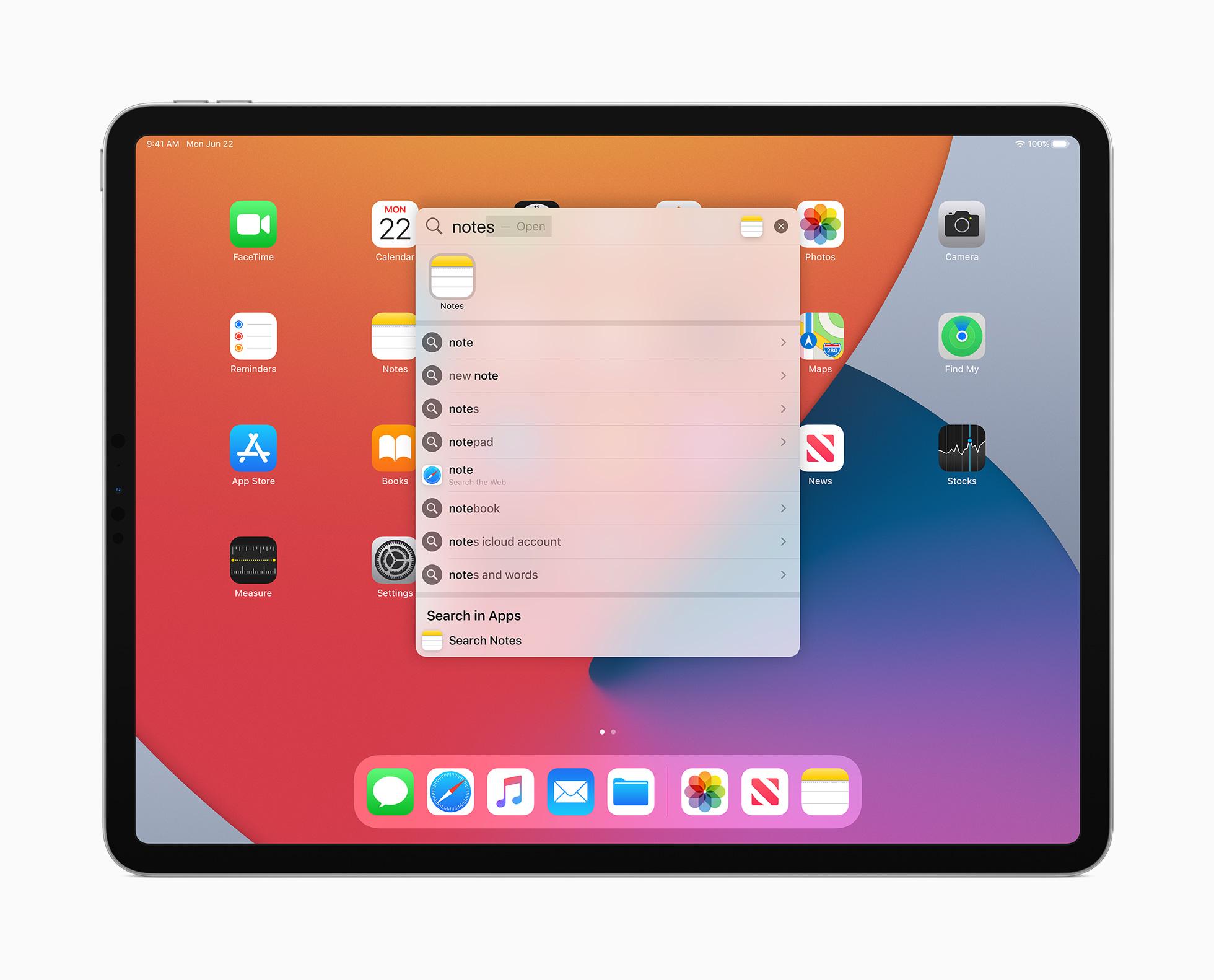 søk på iPadOS 14