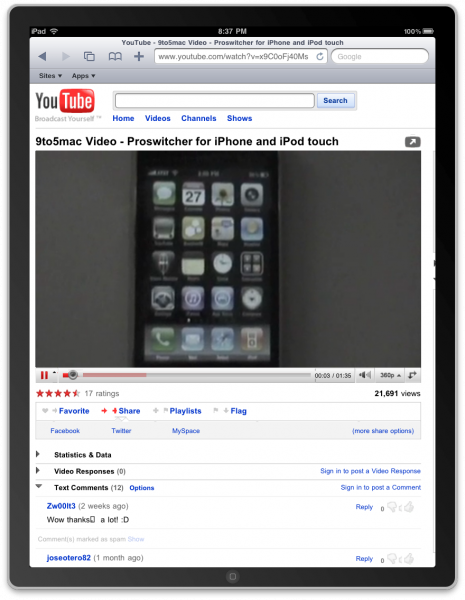 YouTube HTML5 iPad