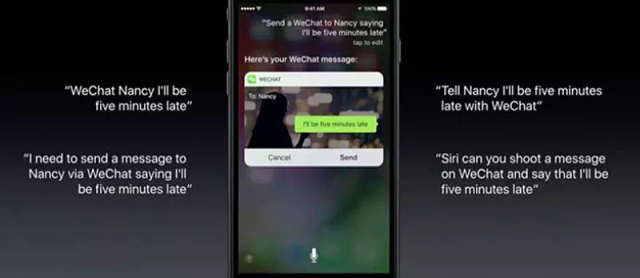 Du kan samhandle med WhatsApp gjennom Siri.